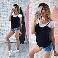 Женская футболка на лето с имитацией майки 65FU170, фото 1