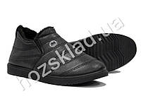 Ботинки мужские черные, кожзам, на меху (46 р., маломерят)
