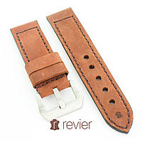 Ремешок для наручных часов Revier ручной работы с натуральной итальянской кожи кирпичного цвета 22, 24, 26мм, фото 1