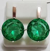 Серьги Круг из серебра с золотом и ярко зеленым камнем