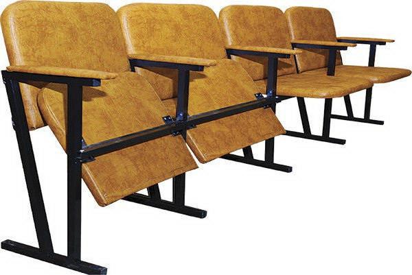 Кресло для актового зала 4 места, Ткань/Искусственная кожа