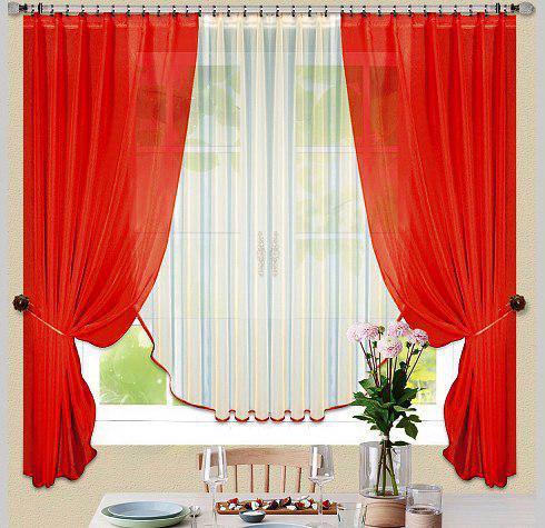 Комплект штор Керолин Красный, кухонные