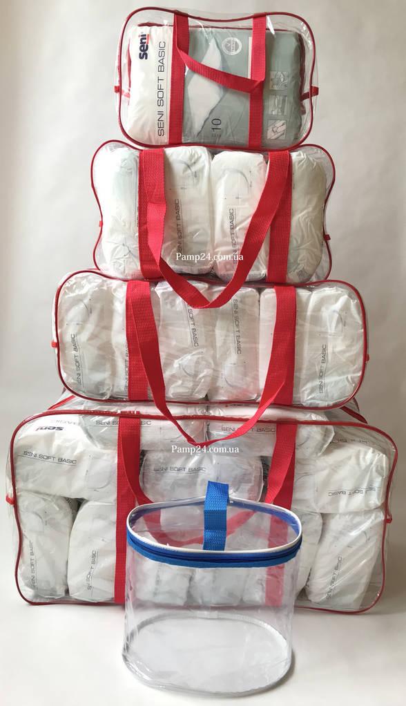 Набор из 4+1 прозрачных сумок в роддом сумка - S,M,L,XL - Красные