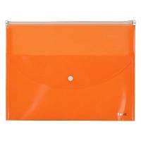 Папка-конверт, zip-lock, 2 отделения, A4, оранжевая