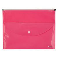 Папка-конверт, zip-lock, 2 отделения, A4, розовая