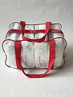 Сумка прозрачная в роддом - Средняя 40*25*20 см Красная