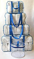Набор из 4+1 прозрачных сумок в роддом - S,M,L,XL - Синие