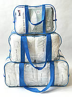 Набор из 3 прозрачных сумок в роддом - S,M,L - Синие