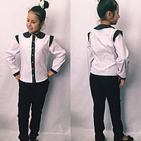 Детская подростковая блузка-рубашка с длинным рукавом и воротничком, фото 1