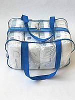 Сумка прозрачная в роддом - Средняя 40*25*20 см Синяя
