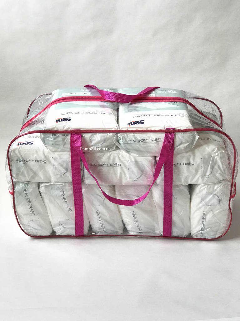 Сумка прозрачная в роддом - XL - 65*35*30 см Розовая