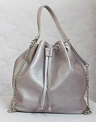 Сумка рюкзак из натуральной кожи. Розовый жемчуг