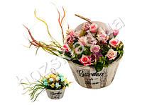 """Искусственные цветы в горшке """"Garden flowers"""" 25*17*25см"""