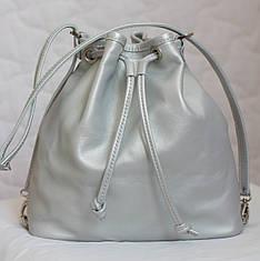 Сумка рюкзак из натуральной кожи. Серебро