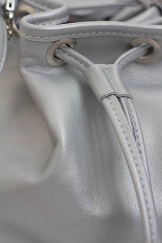 Сумка из натуральной кожи. Серебро, фото 2