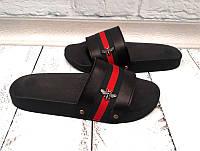 Шлепанцы женские Gucci натуральная кожа черные KF0456