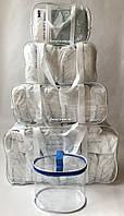 Набор из 4+1 прозрачных сумок в роддом - S,M,L,XL - Белые