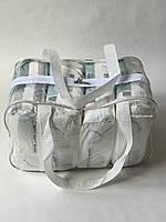 Сумка прозрачная в роддом - Средняя 40*25*20 см Белая