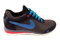 Кроссовки подростковые Nike кожа натуральная черные Ni0033