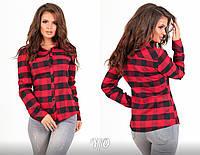 96fc2ddbe82 Черно-красная клетчатая женская шерстяная рубашка с подстегивающим рукавом.  Арт-6907 85