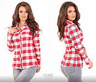 fd4b57d097b Бело-красная клетчатая женская шерстяная рубашка с подстегивающим рукавом.  Арт-6907 85
