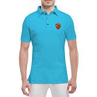 Футболка Поло с принтом Рома (голубая)