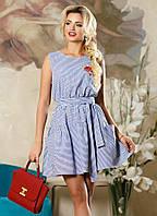 Летнее хлопковое платье коктейль с поясом Д-1485