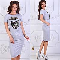 Летний женский костюм с аппликацией / двунитка / Украина 6-829, фото 1