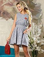 Летнее хлопковое платье коктейль с поясом Д-1486