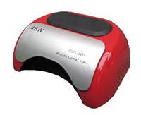 LED + CCFL лампа гибрид на 48 вт, для гель-лаков и для геля с таймером 10, 30 и 60 сек красная.