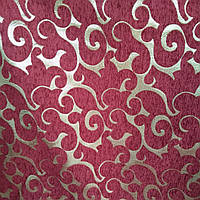 Мебельная ткань шенилл Гобелен с люрексовой ниткой ширина ткани 150 см сублимация 3071-бордо , фото 1