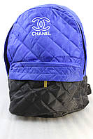 Рюкзак женский стеганный черно-синий, фото 1
