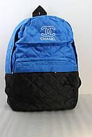 Рюкзак женский стеганный черно-голубой