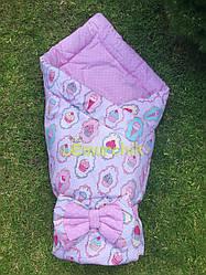 """Конверт-одеяло двухсторонний для новорожденных на выписку и в коляску на синтепоне Lari """"Пирожное"""""""