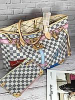 Популярная сумка Louis Vuitton Neverfull  32 cм натуральная кожа (реплика), фото 1