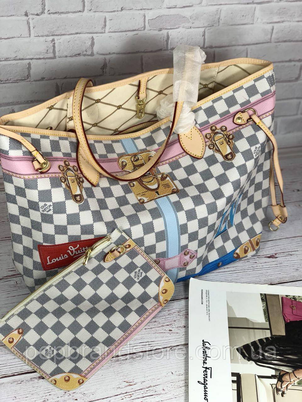 ce5216f9615e Популярная сумка Louis Vuitton Neverfull 32 cм натуральная кожа (реплика)