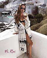 Пляжная туника халат белая с поясом, фото 1
