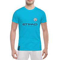 Футболка с принтом Манчестер Сити (голубая)