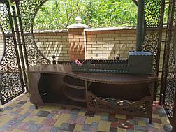 """Беседка """"Анталия"""" с мангальной зоной """"Эмир"""" (цвет черный/коричневый), фото 3"""
