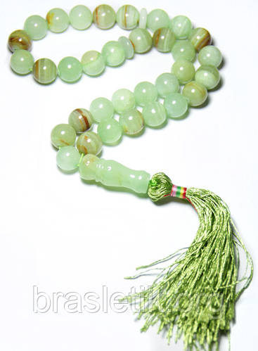 Четки из камня оникс зелёный натуральный камень
