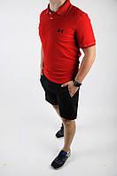Шорты + футболка поло / спортивный летний мужской костюм / черно-красный