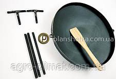 Сковорода из бороны съемные ножки и ручки + крышка 400 мм , фото 3