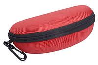Футляр чехол для очков Case Solid твердый с карабином красный