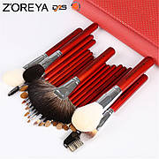 Набор профессиональных кистей Z'OREYA 22 шт в чехле (Красный)