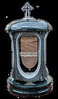 Лампадка (подсвечник) с гранитом для надгробного памятника габро, серебро