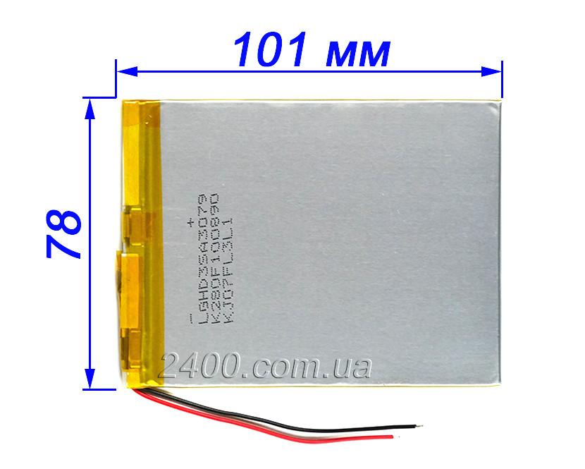 Аккумулятор планшета 3300 мАч размер 3.0х80х100 мм тонкий - 3,7в  Nomi, Bravis, Prestigio 3300mAh 3.7v