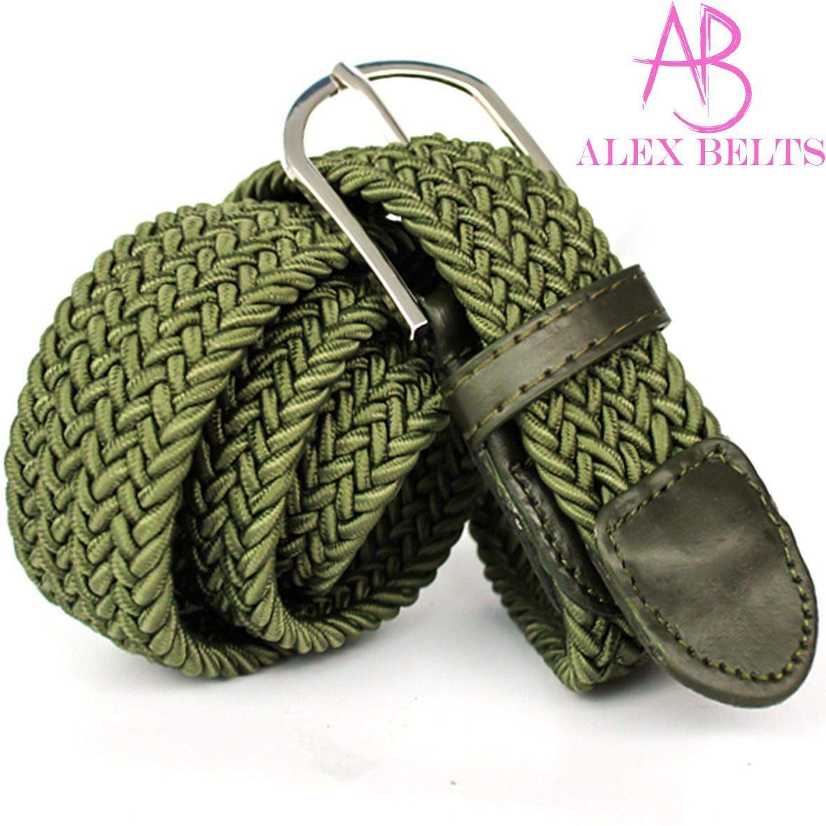 Ремень плетенка резинка на шпеньке (зеленый) 35 мм -купить оптом в Одессе