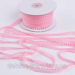 Текстильная тесьма шириной 12 мм с маленькими помпонами по краю, цвет розовый