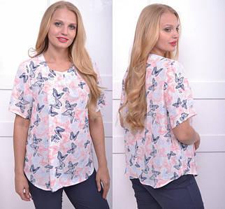 Женская блуза из шифона большого размера 50-58