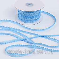 Текстильная тесьма шириной 12 мм с маленькими помпонами по краю, цвет голубой